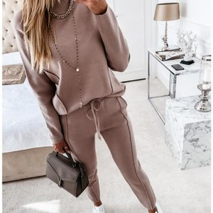 Womens Blouses Sweatshirts Pocket Pencil Pants Sports Two-Piece Sets Tracksuits Ladies Pullover Casual Trip Tops Trouser Sets