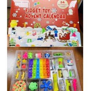 50% OFF FIDGET ADVENT CALENDARS Рождество 24 дня Обратный отсчет слепых тайных коробок Сенсорный палец игрушки Lucky Boxes Kids Push Popper ottie