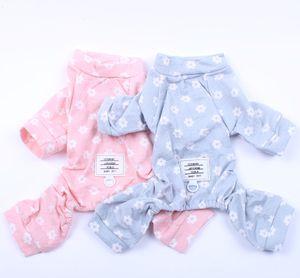 Small Dog Cat JumpSuit Pajamas Flowers Design Pet Puppy Tracksuit Nightshirt Apparel 5 Sizes 2 Colours