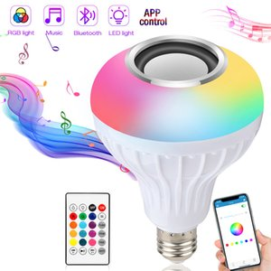 Smart E27 RGB White Bluetooth Speaker Led Light Bulb Adjustable Music Wireless APP and Remote Control