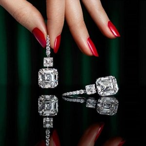 Classical Luxury Jewelry Dangle Earrings 18K White Gold Fill Emerald Cut Moissanite Diamond Zircon Party Long Women Wedding Brand Drop Earring For Lover Gift
