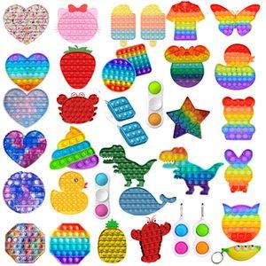 Rainbow Love Bubble Sensory Toy Squeeze Stress Reliever Hand Toys Adult Kids Anti Stress PopIt Push Pop Bubble Fidget Toy