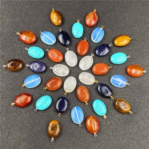 Reiki Healing Jewelry Oval Natural Stone Pendant Quartz Turquoise Opal agate Crystal Pendants DIY Earrings Necklaces Women