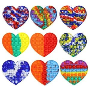 Rainbow Push Pop Heart-shaped Party Favor It Fidget Toy Sensory Bubble Autism Special Needs Anxiety Stress Reliever for Office Workers Fluorescen