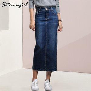 StreamGirl Donne Denim Skirt Long Saia Jeans Gonna da donna Gonna Denim Gonne per le donne Estate Vintage Black Long Gonne Femminile Saia 210330
