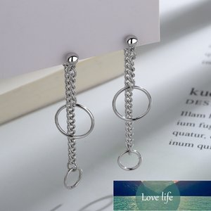 925 Sterling Silver Circle Long Link Chain Tassel Korean Drop Earring For Women Fashion Wedding Jewelry eh1276