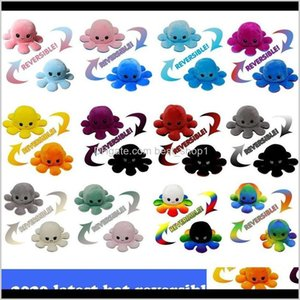 Party Favor 2021 Latest Reversible Plush Toys 1020Cm Stuffed Animals Cute Ped Doll Doublesided Expression Octopus Fy7309 Kngs Q3Kfh