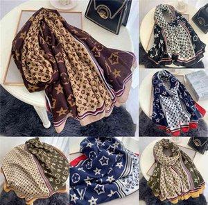 180x90cm big size women scarf scarve designers rectangle shawl ventage retro flower letter print wrap square elegent winter warm scarves boutique favor G97XYRZ