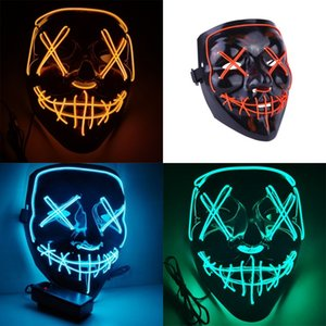 Halloween Mask LED Light Up Funny Masks The Purge Election Year Great Festival Cosplay Costume Supplies Party Mask 1055 B3
