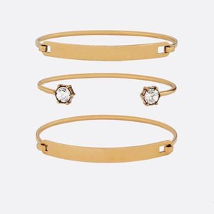 Letter Bangle Brass Material Bracelets Retro Avant-garde Beauty Mandatory Three Ring Split Bracelet Fashion Jewelry