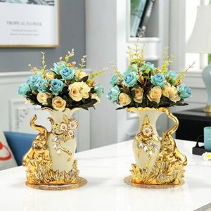 2021 European Style Ceramic Golden Swan Vase Arrangement Dining Table Home Decoration Accessories Creative Golden Elephant Vases