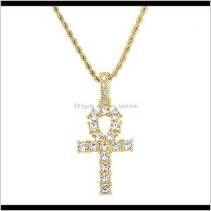 Pendentifs bijoux goutte livraison 2021 hip hop anka croix diamants pendentif colliers pour hommes femmes christian occidentale collier de luxe en acier inoxydable
