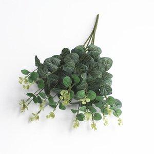 50 см зеленый искусственный эвкалиптовый лист листьев листьев растения деньги фальшивые стены декоративные свадьбы стрельба в доме домой декор цветы венки