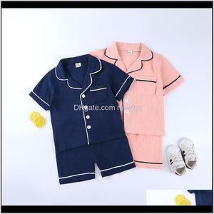 Pajamas Kids Boys Girls Solid Short Sleeve Tops Shirts Sleepwear Shorts Toddler Pajama Sets 2Pcs Children Casual Costumes Set 38Y Tz69 Dwhzc