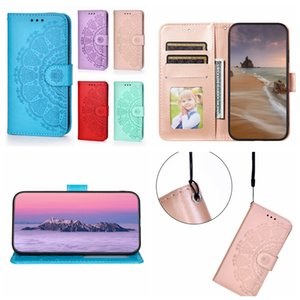 Datura Henna Flower Leather Wallet Cases For Samsung Galaxy S21 Plus Note 20 Ultra S20 FE A42 A12 A32 A02S A52 A72 5G A21S Imprint Blossom Lace Girl Holder Flip Covers