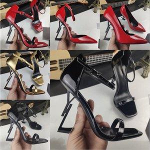 YSL Paris Metal Letras Altos Saltos Luxo Designer Mulheres Senhoras Moda Sexy Open Toe Super Sandálias De Salto Alto Nupcial Casamento Banquete Sapatos