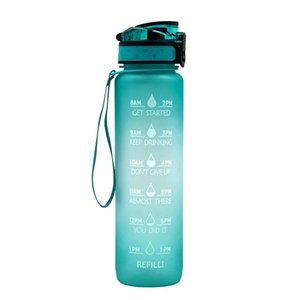Sports Outdoor Water Bottles With Time Scale Reminder Gradient GYM Jug Cup Plastic Drinking Bottles 1L Plastic