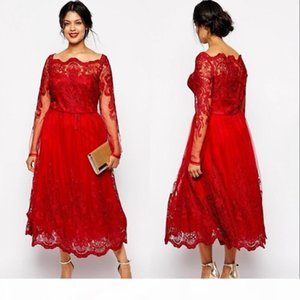 Vintage Red Mother off Bride Dresses 2019 Bateau Neck Lace Appliques Long Sleeves Plus Size Mother Of the Bride Gowns Wedding Guest Dress