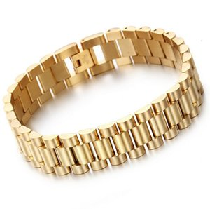 Hot Fashion 15mm Luxury Mens Womens Watch Band Bracelet Hiphop Gold Silver Stainless Steel Watchband Strap Cuff Bangles Jewelry