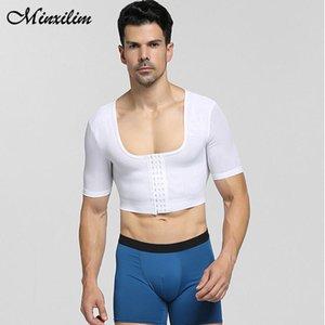 Men's Body Shapers Minxilim Men Shaper Black Bodysuit Slimming Top Workout Fitness Tops Shapewear Loss Weight
