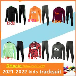Kids 2021 manchester tracksuit suit MARTIAL football sportswear foot jogging POGBA United Soccer. top quality.
