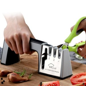 Knife Sharpener 4 in 1 Diamond Coated&Fine Rod Knife Shears and Scissors Sharpening System Stainless Steel Blades Kitchen Tools