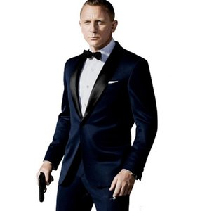 2020 New Dark Blue Groom Men Suit Tuxedos Jacket+Pant+Tie Mens Fashion Tux Tuxedos Boyfriend Blazer Bridegroom Mens Clothing