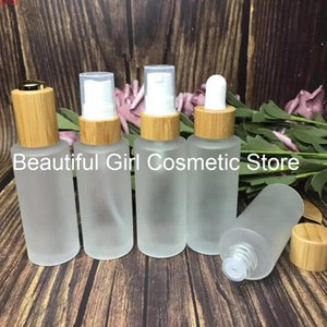 Refillable 30ML Essential oil Glass Bottles With Bamboo Press Cover Lid Frosted Lotion Essence Oil Bottle Bambugoods