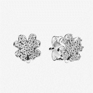 NEW 925 Sterling Silver Sparkling Clover Stud Earrings Women summer Jewelry with Original box for Pandora CZ diamond Earring sets