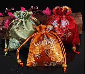 150pcs Flower Chinese style Drawstring Silk Brocade Jewellery Pouches Small Gift Bags Wholesale Sachet Bracelet Necklace Packaging