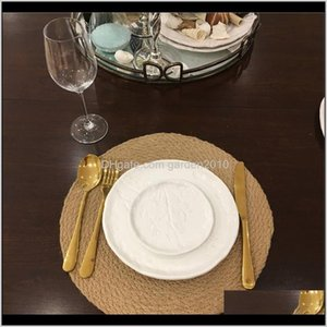 Mats & Pads Heat Insulation Linen Cupboard Table Mat Round Placemat Drink Coasters Natural St Placemats Cup Coaster Kitchen A25D0 Sxck0