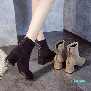 Stretch Socks Boots Shoes Slip Ankle Winter Elegant Zip Square High Heels Wellies For Women