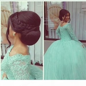 2019 Vintage Dark Sage Lace Sequin Quinceanera Dresses Ball Gowns Long Sleeve Corset Floor Length Sweet 16 Prom Dresses