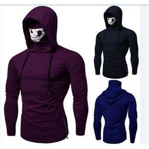 Fitness Men's Ninja Suit Slim Skull Mask Printed Hooded Long Sleeve T-shirt