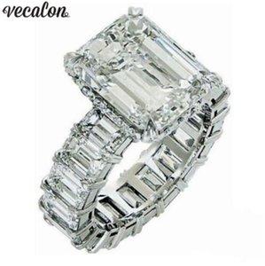 Vecalon 2019 Vintage Princess RUD RING RING 925 Стерлинговое серебро 6CT Алмазные Обручальные Кольца Свадьба Для Женщин Пальца Ювелирные Изделия