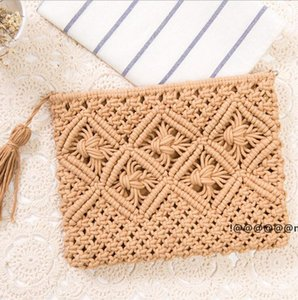 Tassel Handbag Retro Knitted Straw Beach Bag Bohemian simple Messenger Bags For Women summer 9style EWD6136