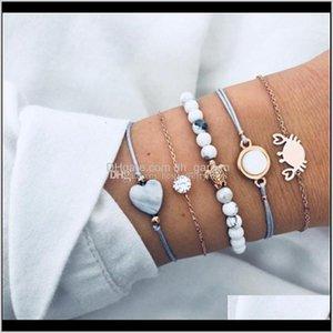 Fashion Gold Link Bracelets Round Zircon Crab Turtle Gemstone Charm For Women Bohemian Jewelry Beads Bracelet Ae7Ei Yzefa