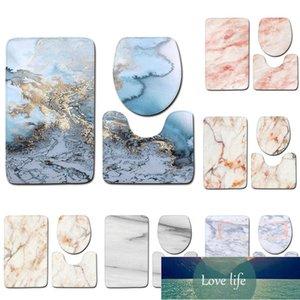 Bagno Set 3 pezzi Marble Texture Toilette coperchio coperchio Tappeto da bagno Pavimento Mat PORTA MAT HOME BACK HOME Set Decor Stampa Decorazione