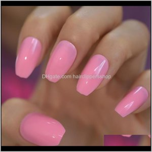 24Pcs Ballerina Fake Nails Jelly Pink Coffin Flat Artificial False Nail Tips For Office Home Faux Ongle Glue Sticker Tabs Bihx6 Voz6S