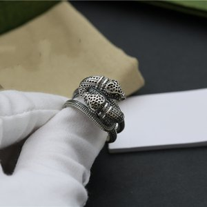 Supply of New Fashion and High-quality Products Unisex Silver-plated Double-headed Three-dimensional Spirit Snake Retro Ring NRJ