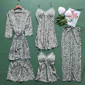 Leopard 5pcs Pajamas Set Women Summer Satin Sleepwear Thin Silky Soft Kimono Bathrobe Gown Sexy Lace Trim Sleep Set Home Clothes L0304