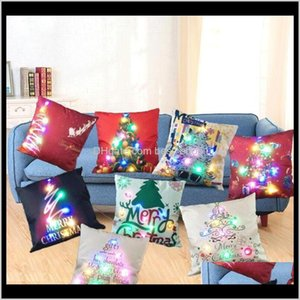 Bedding Supplies Textiles Garden Drop Delivery 2021 Led Case Luminous Linen Pillow Covers Light Cushion Cover Christmas Pillowcase Home Sofa