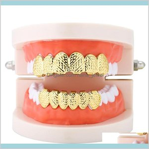 Grillz Hip Hop Mens 6 Top Bottom Gold Sier Color False Teeth Set Bump Lattice Dental Grills For Women Body Jewelry Drop Delivery 2021