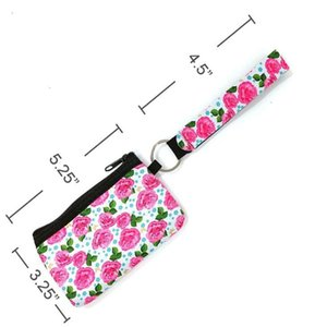 ID Neoprene Bag Sunflower Card Leopard Printed Credit Holder Coin Purse Wristlet Zipper Pouch Storage Bags With Keychain KKF1906