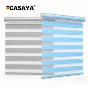 Double Layer Zebra Blinds Fabric Inserted Dust Cover Day And Night Roller For Customized Size