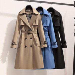 S-4XL Осенняя мода Элегантный пояс Пальто Женщины Свободные Длинные Ветровка Женская Веская