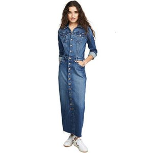 Women Denim Dress Stylish Autumn Fashion Long Sleeve Slim Fit Dress Single Breasted Jean Shirt Dress