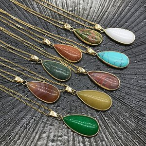 Reiki Healing Jewelry Waterdrop Natural Stone Necklace Quartz Lapis Opal Pink Crystal Pyramid Pendant Amethyst Necklaces Women