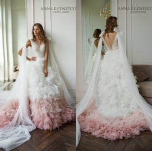 Newest Anna Kuznetcova Wedding Dresses With Detachable Train V-neck Tiered Tulle Blush Applique Bridal Gown Custom Made Wedding Dress