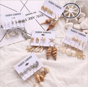 Fashion Dangle Drop Earrings Set For Women Elegant Gold Beach Shell Starfish Love Heart Pearl Earring Ethnic Jewelry Gift Party